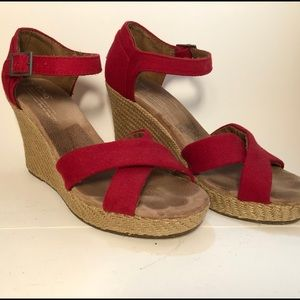 TOMS strappy red cork wedge sandals